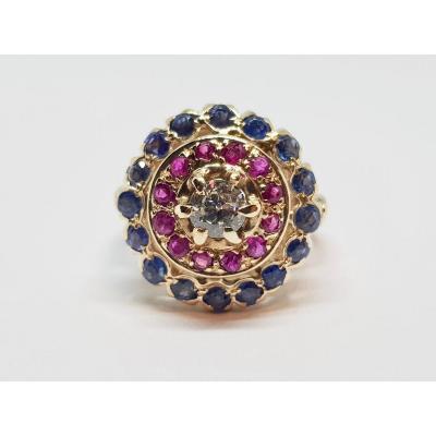 Bague Ancienne En Or Jaune 14 Carats 585/1000 Diamant Saphirs Rubis 6.24 Grammes