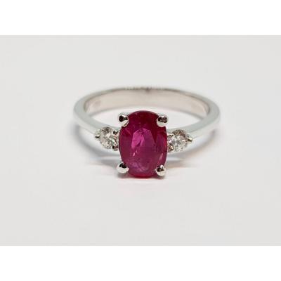 Bague De Fiançailles Rubis & Diamants Or Blanc 18 Carats 750/1000 2.96 Grammes
