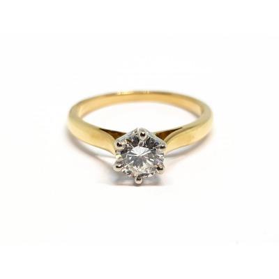 Bague - Solitaire Diamant 0.45 Carat 2 Ors 18 Carats 750/1000 2.10 Grammes