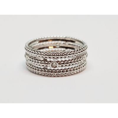 Bague Mauboussin Le Premier Jour Diamants 0.10 Carat Or Blanc 18 Carats 750/1000 3.37 Grammes