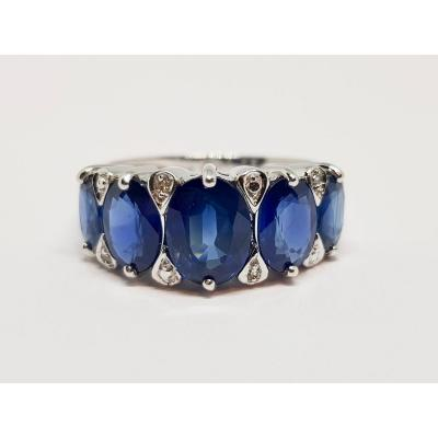 Ring Sapphires 4 Carats & Diamonds In White Gold 18 Carats 750/1000 3.87 Grams