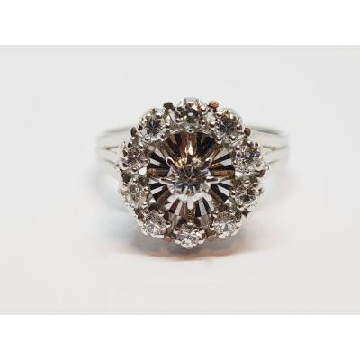 0.50 Carat Ring In Aged White Gold 18 Carats 750/1000 5.26 Grams