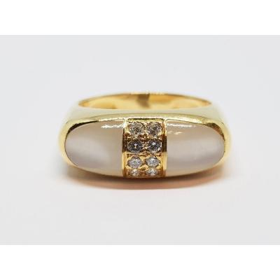 Bague Diamants 0.16 Carat & Pierre De Lune Or Jaune 18 Carats 750/1000 6.12 Grammes