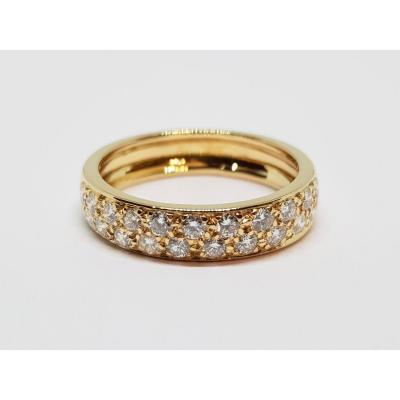 Diamond Wedding Ring 0.70 Carat In Yellow Gold 18 Carats 750/1000 4.52 Grams