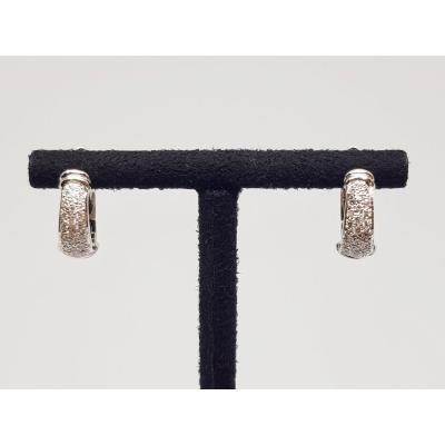 0.24 Carat Hoop Earrings In White Gold 18 Carats 750/1000 6.20 Grams