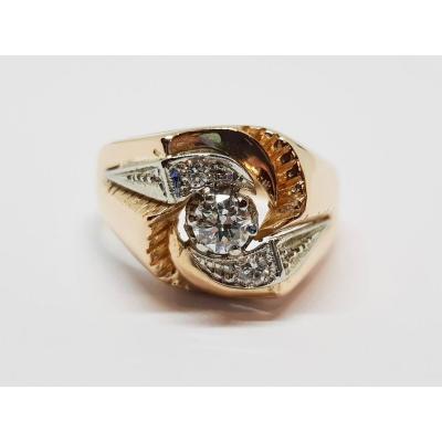 Bague Ancienne Diamants 0.32 Carat En Or Jaune18 Carats 750/1000 7.71 Grammes