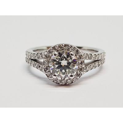 Bague De Fiançailles Diamants 1.25 Carat En Or Blanc 18 Carats 750/1000 4.85 Grammes