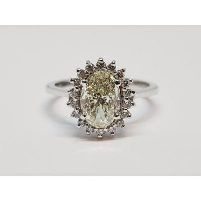 Bague De Fiançailles Diamants 1.44 Carat En Or Blanc 18 Carats 750/1000 3.49 Grammes