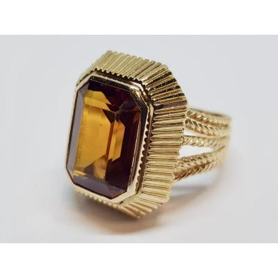 Old Orange Sapphire Ring 9.80 Carats In 18k Yellow Gold 750/1000 7.09 Grams