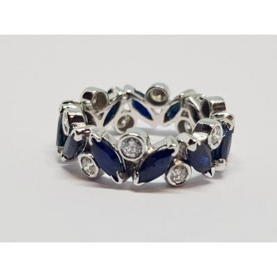Sapphires & Diamonds Alliance In 18k White Gold 750/1000 4.80 Grams