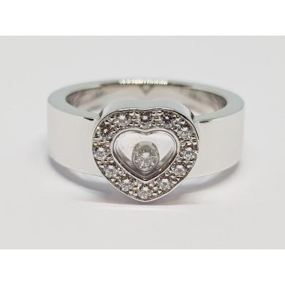 Bague Chopard Happy Diamonds En Or Blanc 18 Carats 750/1000 13.06 Grammes