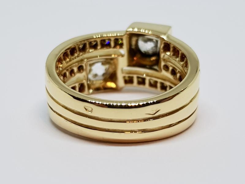 Bague Ancienne Diamants 1.70 Carat En Or Jaune 18 Carats 750/1000 10.30 Grammes-photo-3