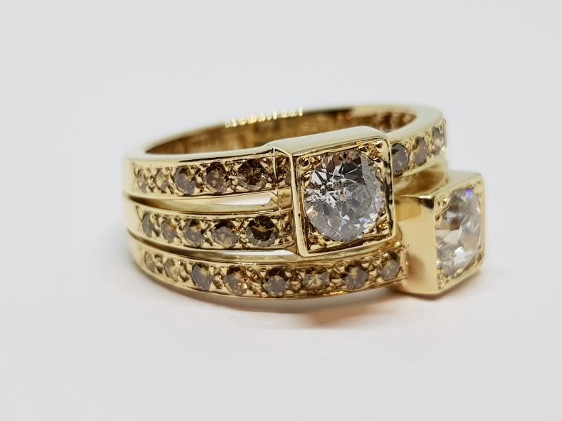 Bague Ancienne Diamants 1.70 Carat En Or Jaune 18 Carats 750/1000 10.30 Grammes-photo-4