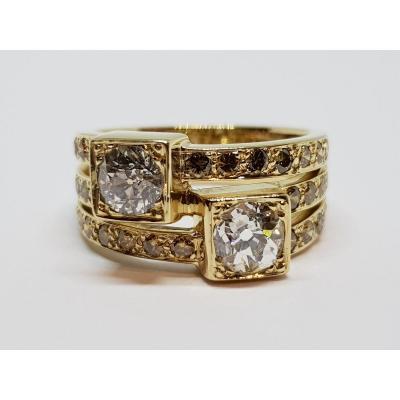 Bague Ancienne Diamants 1.70 Carat En Or Jaune 18 Carats 750/1000 10.30 Grammes
