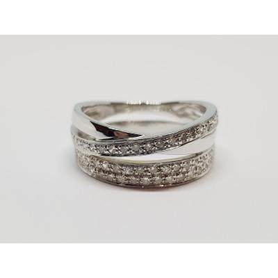 0.30 Carat Diamond Ring In 18k White Gold 750/1000 5.81 Grams