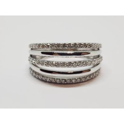 0.30 Carat Diamond Ring In 18k White Gold 750/1000 6.09 Grams