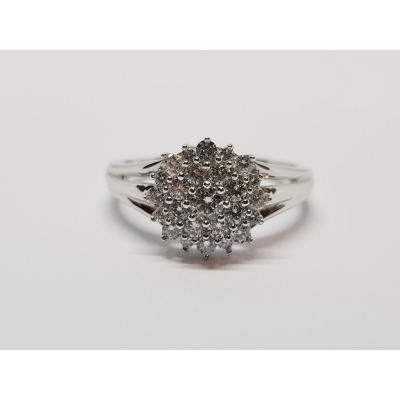 Flower Diamonds Ring 0.52 Carat In 18k White Gold 750/1000 3.26 Grams