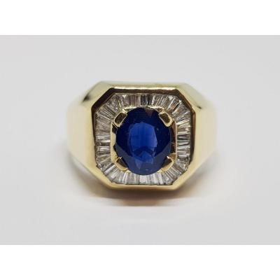 Bague Ancienne Saphirs & Diamants En Or Jaune 18 Carats 750/1000 8.63 Grammes