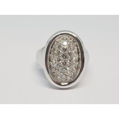Diamond Ring In 18k White Gold 750/1000 16.90 Grams