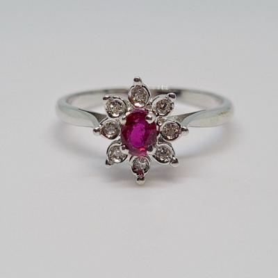 Ring Ruby 0.25 Carat & Diamonds 18k White Gold 750/1000 2.44 Grams