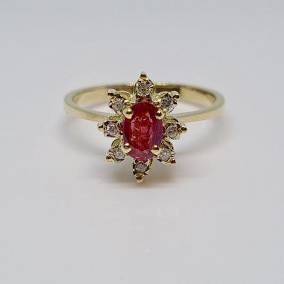 0.50 Carat Ruby & Diamond Ring In 18k Yellow Gold 750/1000 2.90 Grams