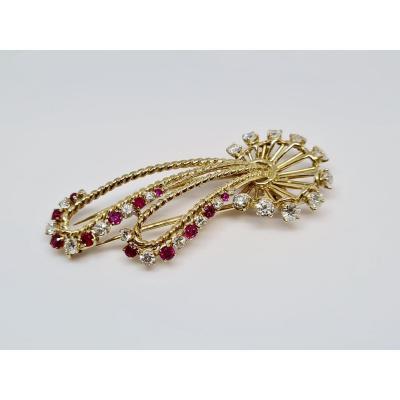 Broche Ancienne Diamant 1.80 Carat & Rubis Or Jaune 18 Carats 750/1000 11.09 Grammes