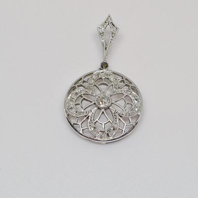 Pendentif Diamants 0.35 Carat Art Déco Or Blanc 18 Carats & Platine 2.28 Grammes