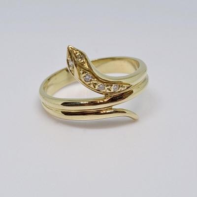 Snake Diamond Ring 0.05 Carat In 18k Yellow Gold 750/1000 4.10 Grams