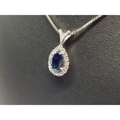 Sapphire Necklace 1.97 Carats Diamonds In 18k White Gold 750/1000 5.04 Grams