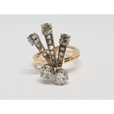 Bague Ancienne 2 Ors Jaune & Blanc 18 Carats Diamants 1.70 Carat 6 Grammes