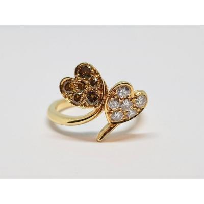 Diamond Ring 0.60 Carat Toi & Moi 18k Yellow Gold Hearts 4.52 Grams