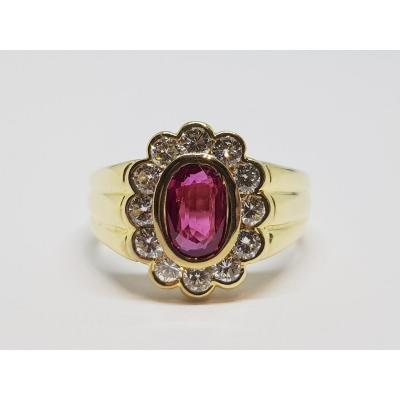 1 Carat Ruby & Diamond Ring In 18k Yellow Gold 750/1000 7.36 Grams