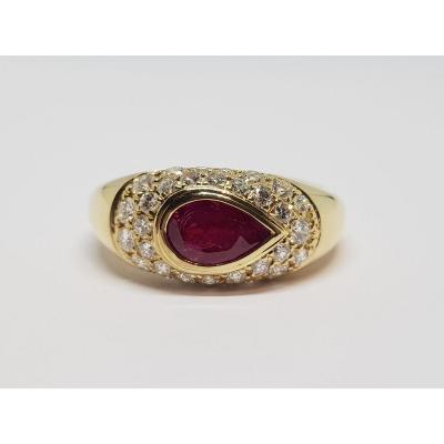 Ruby Ring 1.50 Carat & Diamonds In 18k Yellow Gold 750/1000 7.84 Grams