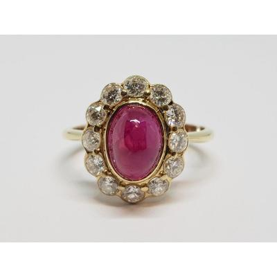 4.50 Carats & Diamonds Ruby Ring In 18k Yellow Gold 750/1000 5.51 Grams