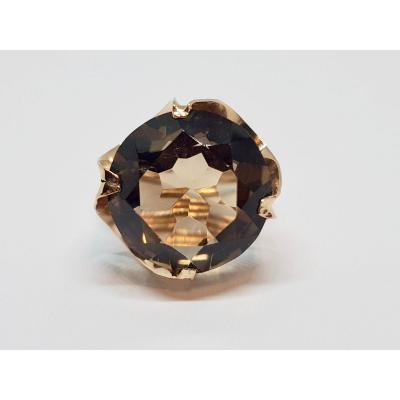 14.60 Carat Smoky Quartz Ring 14k Yellow Gold 7.06 Grams