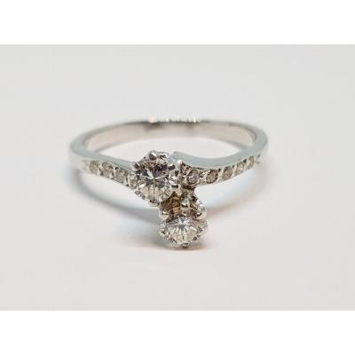 Toi & Moi Ring In 18k White Gold 750/1000 12 Diamonds 0.70 Carat 3.67 Grams