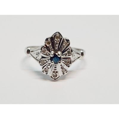 Antique Sapphire & Diamond Ring In 18k White Gold 750/1000 2.41 Grams
