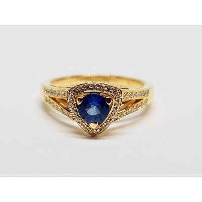 Mauboussin Ring In 18k Yellow Gold 750/1000 Sapphire & Diamonds 5.50 Grams