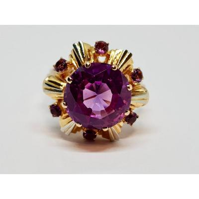 Cocktail Ring In 18k Yellow Gold 750/1000 7 Amethysts 4 Carats 6.84 Grams