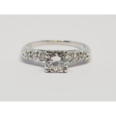 Diamond Engagement Ring 0.80 Carat White Gold 18 Carats 750/1000 3.63 Grams