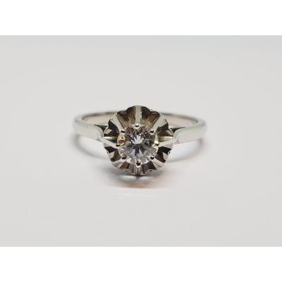 Old Diamond Solitaire 0.50 Carat In 18k White Gold 750/1000 3.37 Grams