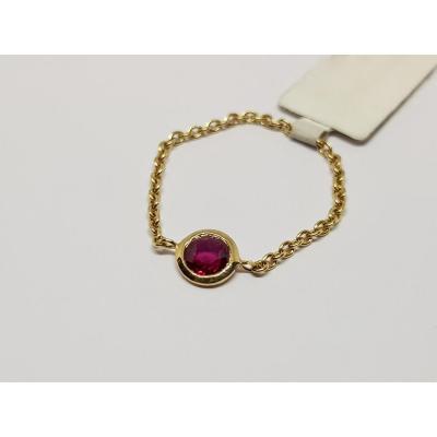 Ruby Chain Ring 0.20 Carat 18k Yellow Gold 0.60 Gram