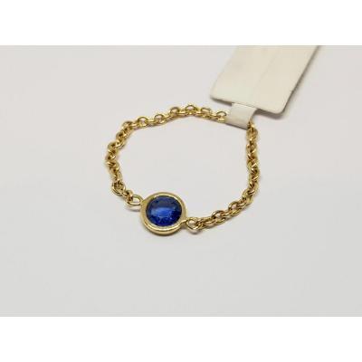 Sapphire Chain Ring 0.20 Carat 18k Yellow Gold 0.60 Gram