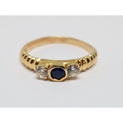 Antique Sapphire & Diamond Trilogy Ring In 18k Yellow Gold 2.33 Grams