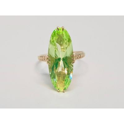 Antique Marquise Ring In 18k Yellow Gold Green Stone 3 Grams