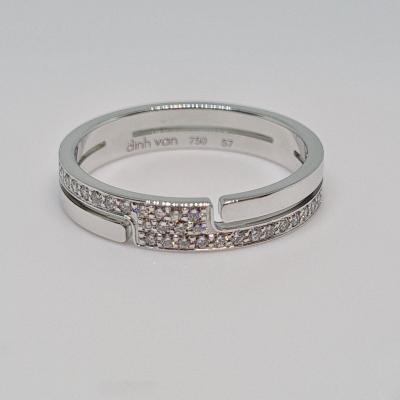 Dinh Van Diamond Ring 0.20 Carat 18k White Gold 750/1000 3.56 Grams
