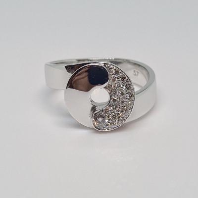 Dinh Van Diamond Ring 0.25 Carat 18k White Gold 750/1000 7.10 Grams