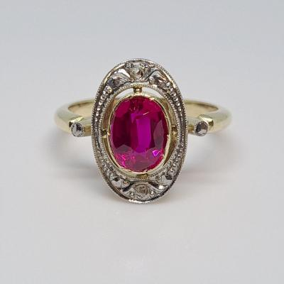 Old Synthetic Ruby Ring 1.60 Carat In 18k Yellow Gold 3.64 Grams