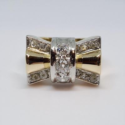 Old Tank Diamond Ring 0.45 Carat 18k Yellow Gold 750/1000 9.57 Grams