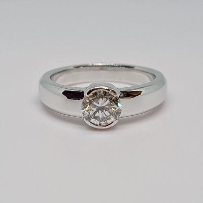 Solitaire Diamond 0.75 Carat 18k White Gold 750/1000 6.26 Grams